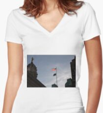 #flag, architecture, #patriotism, city, outdoors, #sky, #sculpture, statue, #government Women's Fitted V-Neck T-Shirt