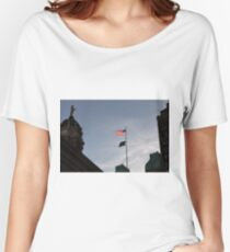 #flag, architecture, #patriotism, city, outdoors, #sky, #sculpture, statue, #government Women's Relaxed Fit T-Shirt
