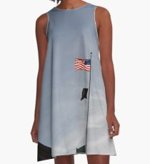 #flag, architecture, #patriotism, city, outdoors, #sky, #sculpture, statue, #government A-Line Dress