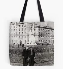 #Norilsk, #Norillag, black and white, #history, #people, group, adult, street, built structure, monochrome, #photography, residential building Tote Bag