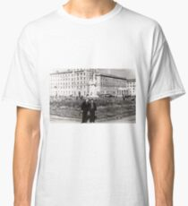 #Norilsk, #Norillag, black and white, #history, #people, group, adult, street, built structure, monochrome, #photography, residential building Classic T-Shirt