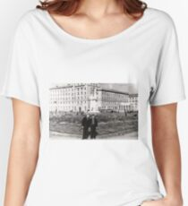 #Norilsk, #Norillag, black and white, #history, #people, group, adult, street, built structure, monochrome, #photography, residential building Women's Relaxed Fit T-Shirt