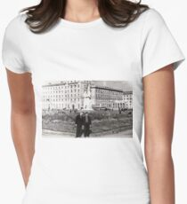 #Norilsk, #Norillag, black and white, #history, #people, group, adult, street, built structure, monochrome, #photography, residential building Women's Fitted T-Shirt