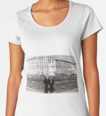#Norilsk, #Norillag, black and white, #history, #people, group, adult, street, built structure, monochrome, #photography, residential building Women's Premium T-Shirt