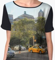 #car, #street, #city, #road, #travel, traffic, architecture, outdoors, modern, town Chiffon Top