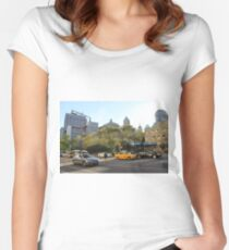 #car, #street, #city, #road, #travel, traffic, architecture, outdoors, modern, town Women's Fitted Scoop T-Shirt