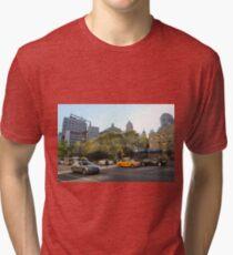 #car, #street, #city, #road, #travel, traffic, architecture, outdoors, modern, town Tri-blend T-Shirt