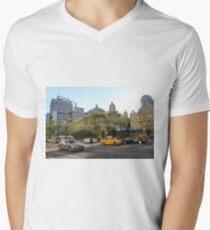 #car, #street, #city, #road, #travel, traffic, architecture, outdoors, modern, town Men's V-Neck T-Shirt