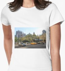 #car, #street, #city, #road, #travel, traffic, architecture, outdoors, modern, town Women's Fitted T-Shirt