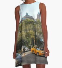 #car, #street, #city, #road, #travel, traffic, architecture, outdoors, modern, town A-Line Dress