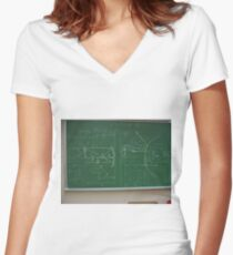 #Classroom, #Physics, #Mathematics, #education, writing, #handwriting, formula, algebra, learning, studying, university Women's Fitted V-Neck T-Shirt