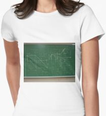 #classroom, mathematics, #education, #handwriting, writing, #formula, algebra, #physics, calculus, chalk out, chalk drawing Women's Fitted T-Shirt
