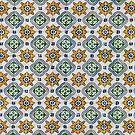 Mediterranean Vintage Blue and Orange Tiles by Anna Lemos