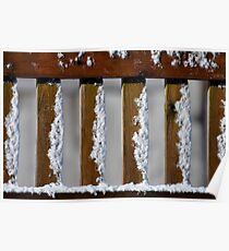 light snow on fence Poster