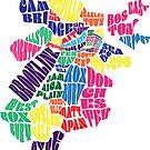 Boston Typographic Map by Claire Chiarelli