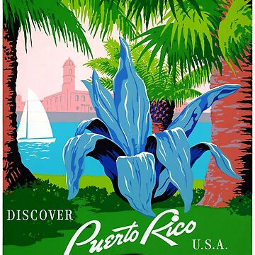 Puerto Rico Vintage Travel Poster Restored by vintagetreasure