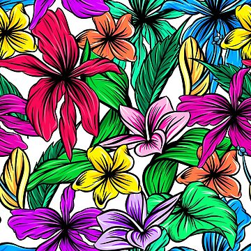 Vibrant Tropical Hibiscus Floral Pattern by crazycanonmom
