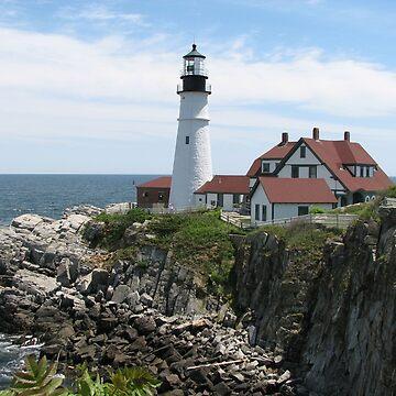 Portland Maine Lighthouse on Coast by EdmondHoggeJr