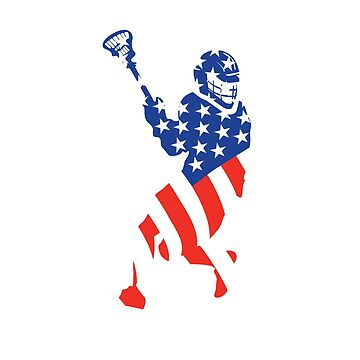 American Flag Silhouette Lacrosse Sport by eaglestyle