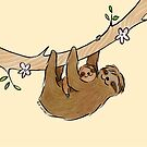 Mama and Baby Sloth by Zoe Lathey