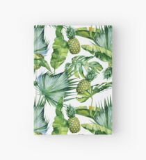 Seamless watercolor illustration of tropical leaves and pineapple, dense jungle. Hardcover Journal