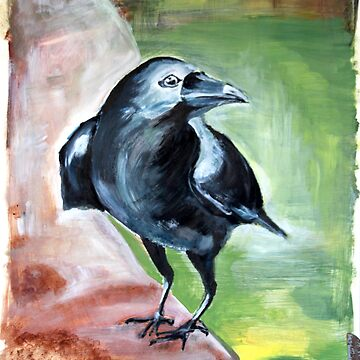 raabe crow art painting acrylic bird canvas feathers flying smart wise black plumage by originalstar