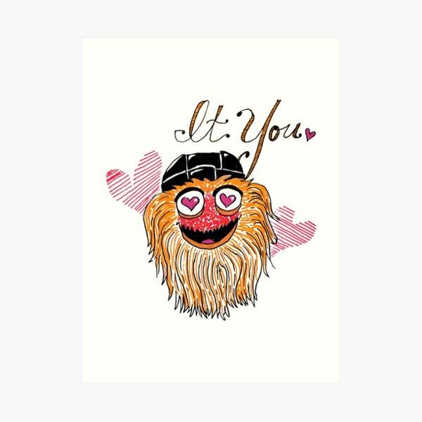 Orange Hockey Monster Valentine Art Print