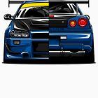R34 SKYLINE RACECAR Tee by RACING FACTORY