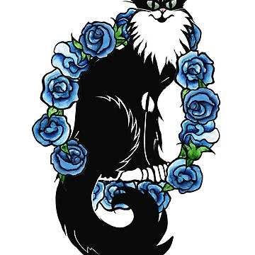 Tuxedo Cat Blue Floral Art by Boogiemonst