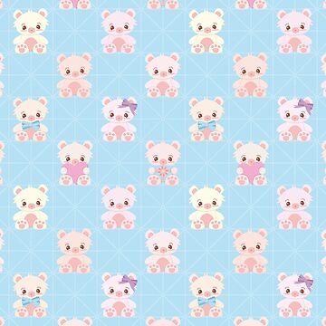 Cute Teddy Bear Seamless Vector Pattern Design by limengd