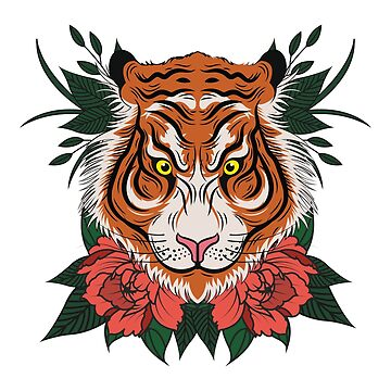 Tiger Face Floral by bza84