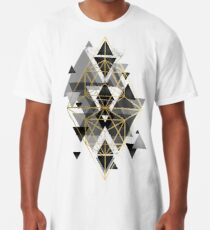 Black White and gold Geometric Perfection Long T-Shirt