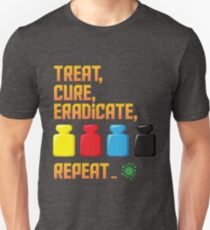 Pandemic Treat, Cure, Eradicate, Repeat Board Game Graphic - Tabletop Gaming Unisex T-Shirt