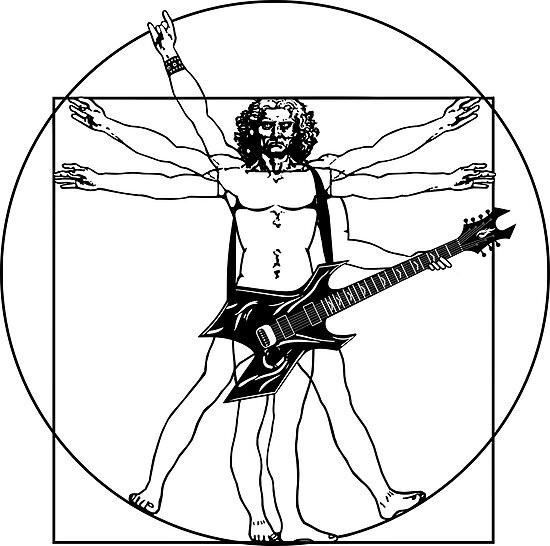 Vitruvian Man Heavy Metal Guitar B C Rich Warlock White Version
