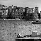 Korcula Harbour - B&W by Tom Gomez