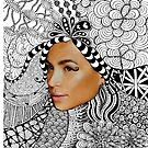 Tangled Woman's Face Fashion Drawing by julieerindesign