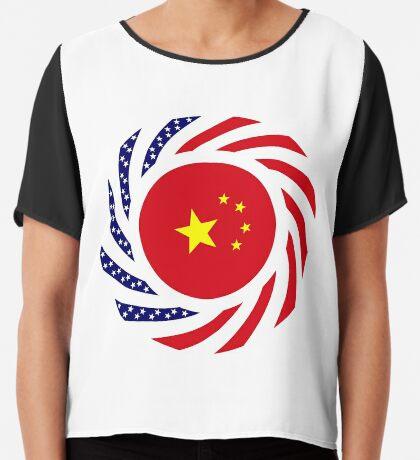 Chinese American Multinational Patriot Flag Series Chiffon Top