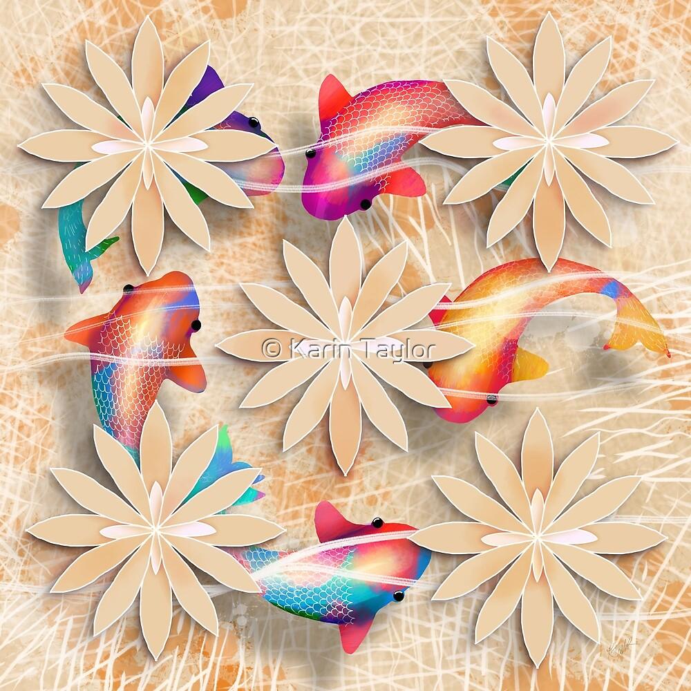 Golden Rainbow Koi by Karin Taylor