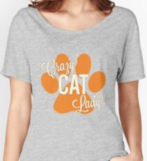 Crazy Cat Lady! Orange Paw Print with Ivory Lettering Women's Relaxed Fit T-Shirt