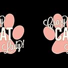 Crazy Cat Lady! Rose Pink Paw Print with Ivory Lettering by PyramidPrintWrx