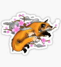 Fox and Cherry Blossoms Sticker