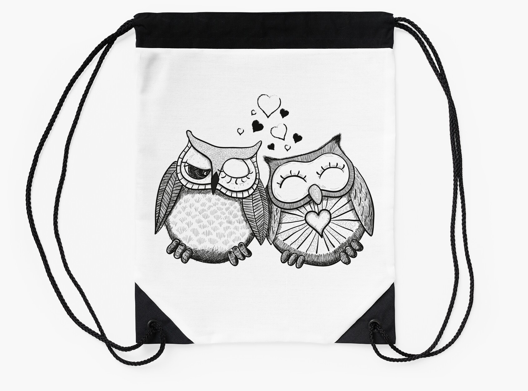 cute black and white owl couple