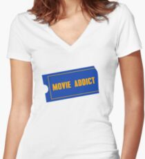 Movie Addict Women's Fitted V-Neck T-Shirt