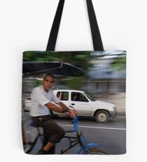 Cycle taxi motion blur, Havana, Cuba Tote Bag