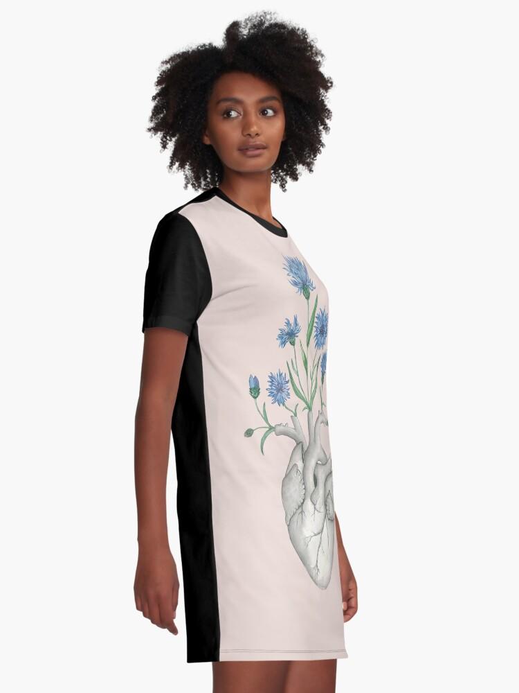 Alternate view of Floral Heart: Human Anatomy Cornflower Flower Halloween Gift Graphic T-Shirt Dress