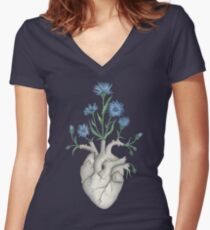 Floral Heart: Human Anatomy Cornflower Mothers Day Gift Women's Fitted V-Neck T-Shirt