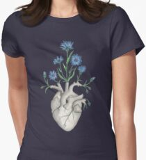 Floral Heart: Human Anatomy Cornflower Valentines Day Gift Women's Fitted T-Shirt