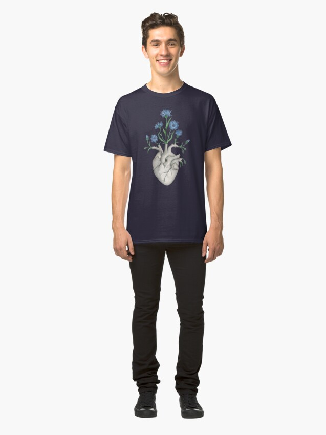 Alternate view of Floral Heart: Human Anatomy Cornflower Flower Halloween Gift Classic T-Shirt