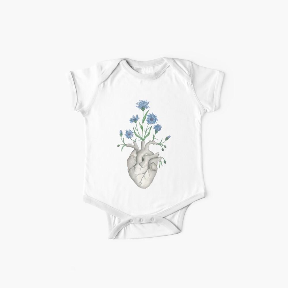 Floral Heart: Human Anatomy Cornflower Flower Halloween Gift Baby One-Piece