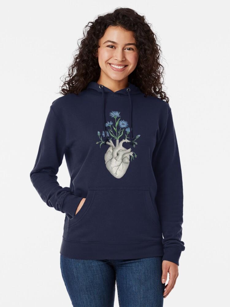 Alternate view of Floral Heart: Human Anatomy Cornflower Flower Halloween Gift Lightweight Hoodie